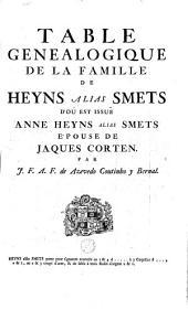 Table généalogique de la famille de Heyns, alias Smets d'où est issue Anne Heyns alias Smets, épouse de Jacques Corten