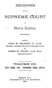 Decisions of the Supreme Court of Nova Scotia: Volume 3