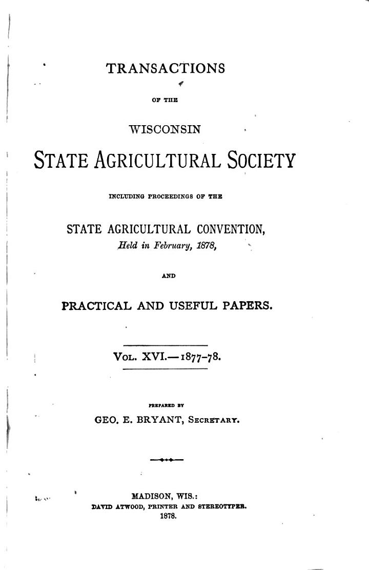 Transactions of the Wisconsin State Agricultural Society