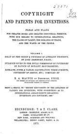 Copyright and Patents for Inventions: Volume 1