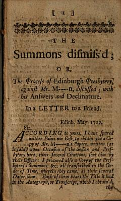 The Summons Dismiss d