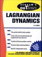 Schaum s Outline of Lagrangian Dynamics PDF