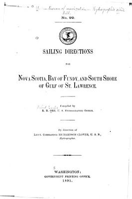 Sailing Directions for Nova Scotia  Bay of Fundy  and South Shore of Gulf of St  Lawrence PDF