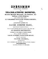Specimen inaugurale juridicum de translatione dominii, secundum principia universalia, Jus Romaum, Jus Gallicum et Civile Belgicum