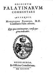 Originum Palatinarum Commentarii Apendix