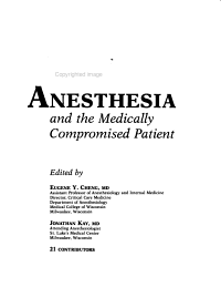 Manual of Anesthesia and the Medically Compromised Patient