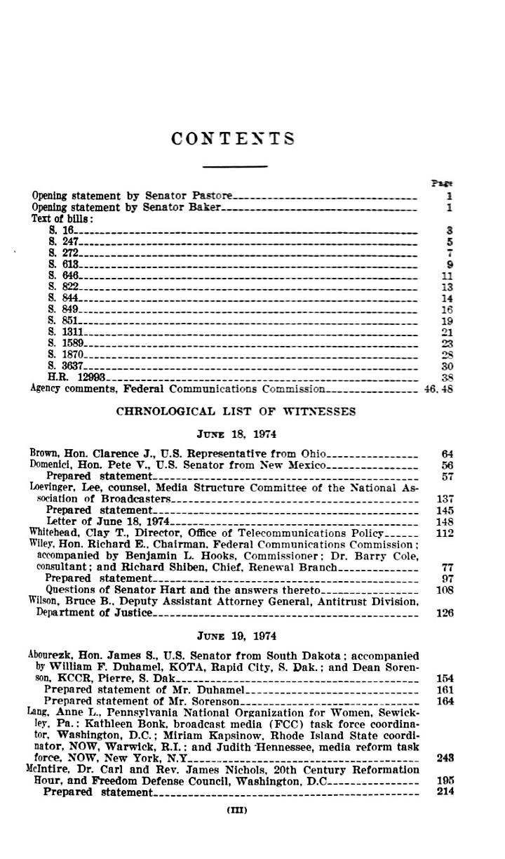 Broadcast Licence Renewal Act, Hearings Before the Subcommittee on Communications Of..., 93-2...