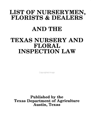 List of Nurserymen  Florists   Dealers and the Texas Nursery and Floral Inspection Law PDF