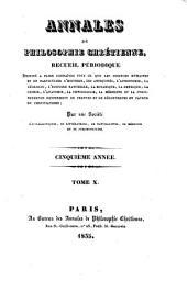 Annales de philosophie chretienne recueil periodique ...