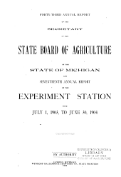 Annual Report of the Agricultural Experiment Station, Michigan State University: Volume 17