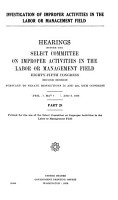Investigation of Improper Activities in the Labor Or Management Field PDF