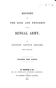 History of the Rise and Progress of the Bengal Army   With plans   PDF