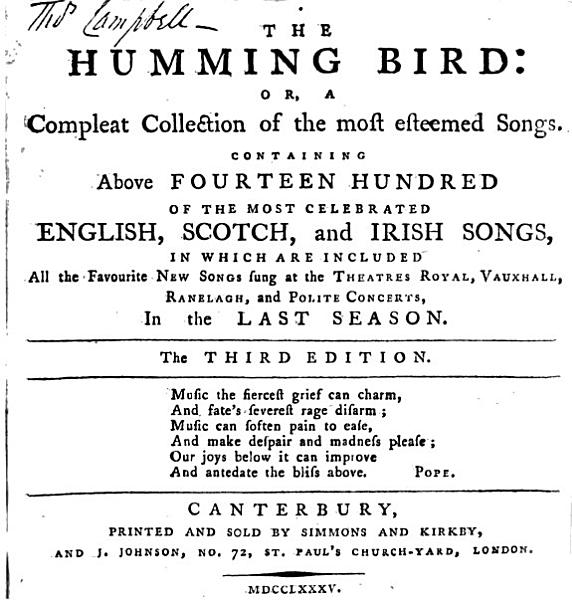 The humming bird  A collection of the most celebrated English and Scots songs PDF