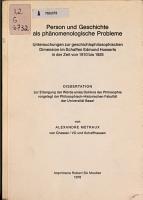Person und Geschichte als ph  nomenologische Probleme PDF