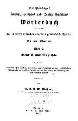 Vollst  ndiges englisch deutsches und deutch englisches W  rterbuch