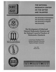 The Development of Gifted and Talented Mathematics Students and the National Council of Teachers of Mathematics Standards PDF