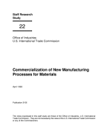 Commercialization of New Manufacturing Processes for Materials  Staff Research Study  22 PDF