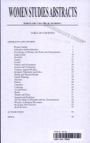Women's Studies Abstracts, Spring 2001, Volume 30, Number 1