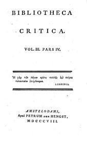 Bibliotheca Critica: Volume 3