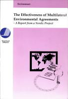The Effectiveness of Multilateral Environmental Agreements PDF