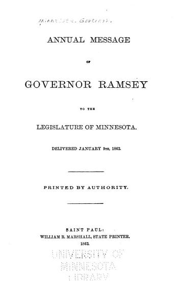 Annual Message of Governor Ramsey to the Legislature of Minnesota PDF