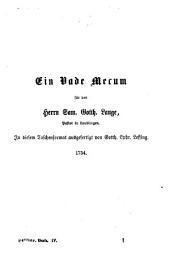 Lessings Werke: Vierter Band