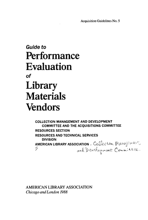 Guide to Performance Evaluation of Library Materials Vendors PDF