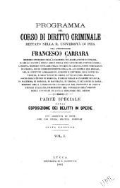 Programma del corso di diritto criminale dettato nella R. Università di Pisa