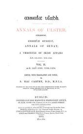 Annala Uladh: 1057-1131: 1155-1378. Ed. by B. MacCarthy
