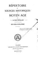 R  pertoire des sources historiques du moyen   ge PDF