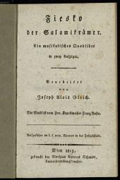 Fiesko der Salamikrämer: ein musikalisches Quodlibet in zwey Aufzügen : aufgeführt im k. k. priv. Theater in der Josephstadt