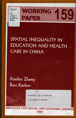 Spatial Inequality in Education and Health Care in China PDF