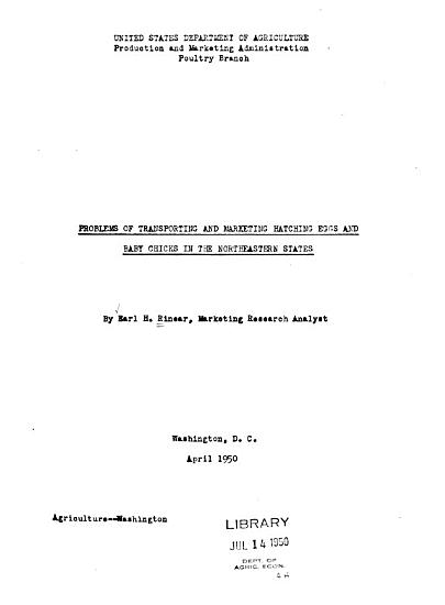 Problems of Transporting and Marketing Hatching Eggs and Baby Chicks in the Northeastern States PDF