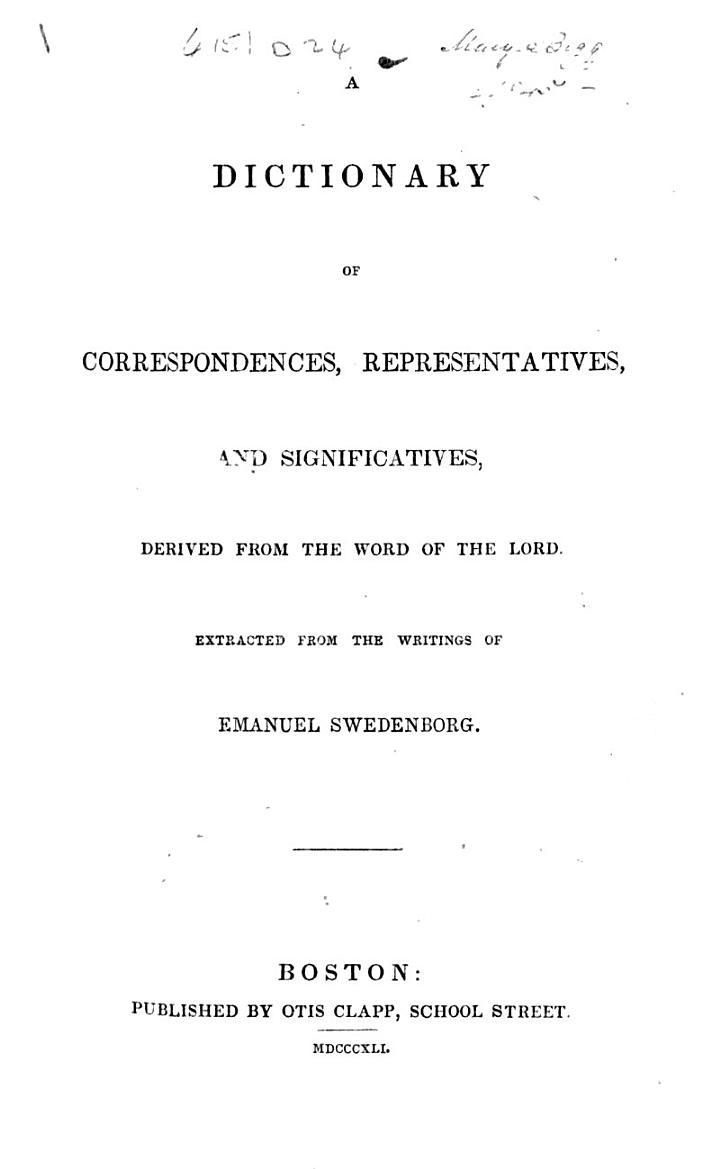 A Dictionary of Correspondences, Representatives, and Significatives