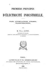Premiers principes d'électricité industrielle