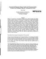 International Migration  Human Capital  and Entrepreneurship PDF
