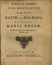 Huwelyks zangen, ter bruilofte van den heere David van Halmael en jongkvrouw Maria Bosch