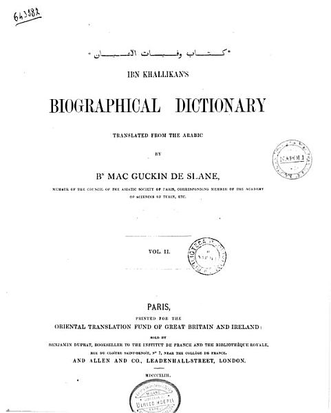 Download Ibn Khallikan s Biographical Dictionary Translated from the Arabic by Bn  Mac Guckin De Slane Book