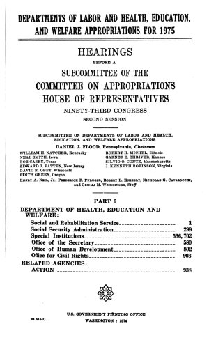 Departments of Labor and Health  Education  and Welfare Appropriations for 1975