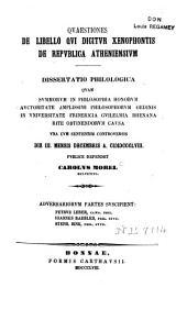 Quaestiones de libello qui dicitur Xenophontis De Republica Atheniensium