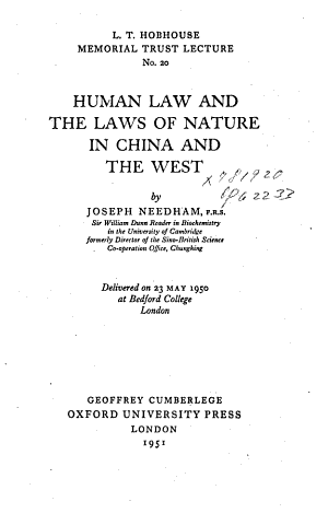 Human Law and the Laws of Nature in China and the West