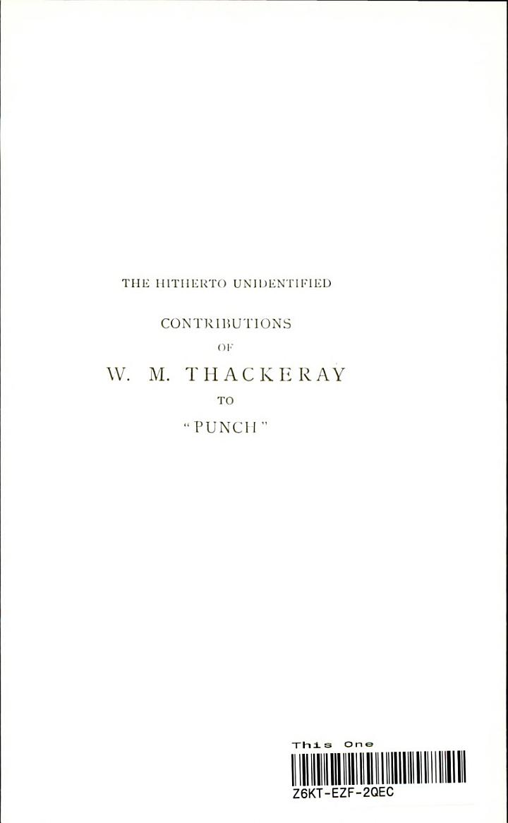 The Hitherto Unidentified Contributions of W. M. Thackeray to Punch