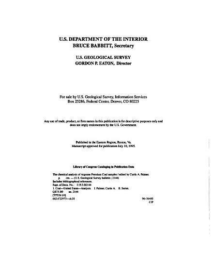 The Chemical Analysis of Argonne Premium Coal Samples PDF