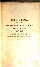 Manuale della storía della letteratura italiana: Volume 1