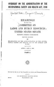 Oversight on the Administration of the Occupational Safety and Health Act  1980 PDF