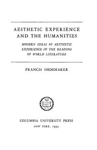 Aesthetic Experience and the Humanities