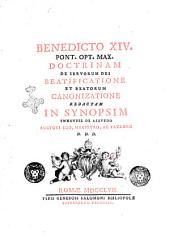 Benedicto 14. pont. opt. max. Doctrinam de servorum Dei beatificatione et beatorum canonizatione redactam in synopsim Emmanuel de Azavedo auctori suo, magistro, ac patrono