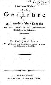 Romantische und andere Gedichte in Altplattdeutscher Sprache
