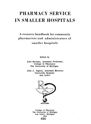 Pharmacy Service in Smaller Hospitals PDF