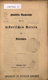 Nachricht über den Historischen Verein für Niedersachsen: Ausgabe 12